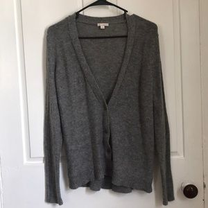 GAP warm gray cardigan with elbow patches